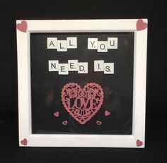 """White wooden scrabble letters saying """" All you need is"""" & a hand painted wooden heart saying love. With hand painted pink wooden hearts. The frames are inches,white wooden. Scrabble Letters, Mothers Day Presents, Wooden Hearts, All You Need Is Love, Gift Guide, Wedding Day, Hand Painted, 3d, Personalized Items"""