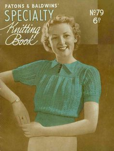 Early 1930s knitted lace jumper with garter yoke, c.1934 - Vintage Knitting Pattern PDF (308) door SubversiveFemme op Etsy https://www.etsy.com/nl/listing/84748916/early-1930s-knitted-lace-jumper-with