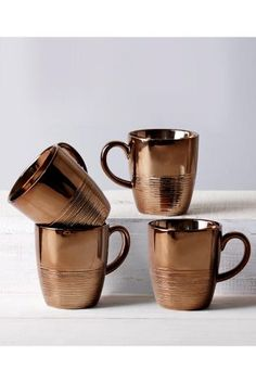 Set Of 4 Copper Effect Mugs from Next