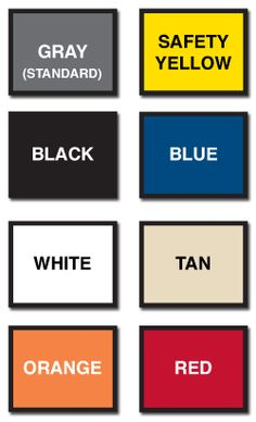 WireCrafters Product Finishes and Color Samples-Stock Colors; custom colors available