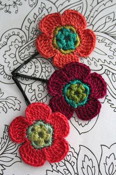 Crochet Flower Hair Pins Tropical Peach Pink and by CatWomanCrafts, $10.00