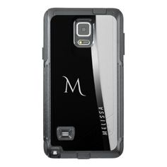 Elegant black white silver name and monogram OtterBox samsung note 4 case - monogram gifts unique design style monogrammed diy cyo customize