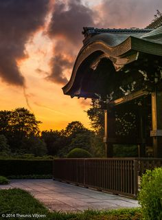 Kew Gardens Sunset by Theunis Viljoen - Chokushi-Mon (Gateway of the Imperial Messenger) is a four-fifths replica of the Gate of Nishi Hongan-ji (Western Temple of the Original Vow) in Kyoto, Japan.