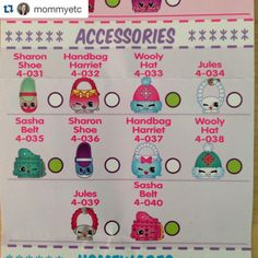 Shopkins Season 4 Accessories Checklist