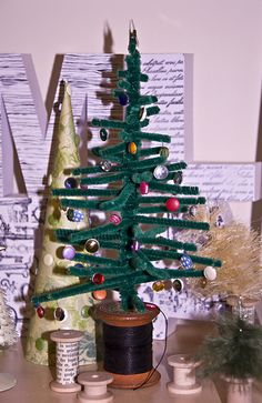 Home-made pipe cleaner christmas tree