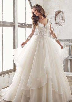 morilee spring 2018 bridal three quarter sleeves sweetheart neckline #bridalcollection