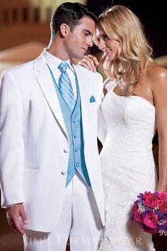Stephen Geoffrey Troy Destination Wedding White Tuxedo  View on jimsformalwear.com, rent at Memories!
