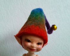 "Felted hat ""Rainbow gnome"" for Realpuki - Realpuki hat - Realpuki clothes by Valyashki on Etsy"