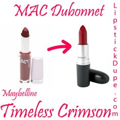 Maybelline SuperStay 14H Timeless Crimson dupe MAC Dubonnet #dupe #dupes #lipstickdupe #macdupe www.lipstickdupe.com