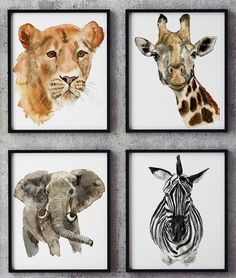 These Prints are taken from my original watercolor! Great idea for kids and baby wall decor! *******The purchase of this item includes:  - 4 Jpeg