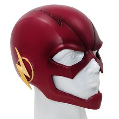 Amazon.com: Flash Mask Cosplay Helmet PVC Red Mask For Adult Halloween Accessory: Clothing
