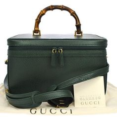 GUCCI Bamboo Cosmetic 2way Hand Bag Green Leather Vintage Italy. Get the lowest price on GUCCI Bamboo Cosmetic 2way Hand Bag Green Leather Vintage Italy and other fabulous designer clothing and accessories! Shop Tradesy now