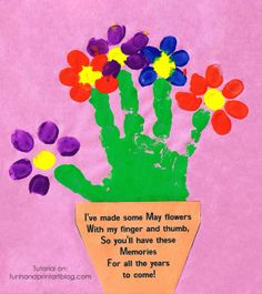Handprint flower crafts, gifts, cards, and keepsakes all make wonderful gifts for Mother's Day. These all would make cheerful Spring crafts to display too! Mother Poems, Mothers Day Poems, Mothers Day Crafts, Handprint Butterfly, Handprint Art, Preschool Crafts, Easter Crafts, Crafts For Kids, Preschool Boards
