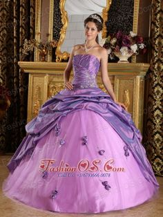 Exclusive Lavender Quinceanera Dress Strapless Taffeta Beading Ball Gown  http://www.fashionos.com