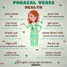 Phrasal Verbs: Health - We can use a lot of phrasal verbs to talk about illnesses. A tool that can remind child life and other staff how confusing language can be and that often times children, esp preschool and school-age take words literally English Vinglish, English Verbs, English Tips, English Phrases, English Writing, English Study, English Lessons, English Grammar, Learn English