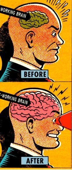 'Human Brain Before.....Human Brain After!', Vintage Comic Book Art, Pop Art, by Lou Brooks.