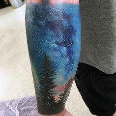 Forest and Milky Way tattoo . Space Tattoo Sleeve, Full Sleeve Tattoos, Sleeve Tattoos For Women, Galaxy Tattoo Sleeve, Galaxy Tattoos, 1 Tattoo, Body Art Tattoos, New Tattoos, Cool Tattoos