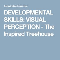 DEVELOPMENTAL SKILLS: VISUAL PERCEPTION - The Inspired Treehouse