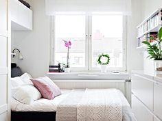 Home Decor – Bedrooms :     small bedroom – build shelf with light over the bed, curate the windowsill, put table at foot of bed.    -Read More –   - #Bedroom https://decorobject.com/furniture/bedroom/furniture-bedrooms-small-bedroom-build-shelf-with-light-over-the-bed-curate-the-windowsill-put/