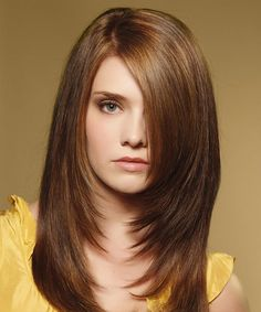 dark brown Hairstyles for Long Straight Hair with side bangs and layers