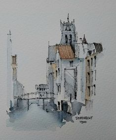 Dordrecht around 1900 Watercolor Sketchbook, Watercolor Paintings, Watercolors, Pen And Wash, Sketch Ink, Sketches, Ink Pen Drawings, Urban Sketching, Drawing Lessons