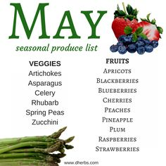 May Seasonal Produce List In Season Produce, Fruit In Season, Fruit And Veg, Fruits And Veggies, Vegetables, Fresh Fruit, Healthy Snacks, Healthy Eating, Healthy Recipes