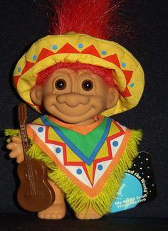 "MEXICO AROUND THE WORLD  - 5"" Russ Troll Doll - NEW Guitar Sombrero  #Russ #Dolls"