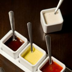 Assortment of entrée dipping sauces. Enter The Melting Pot's new menu Pinterest contest for chance to win free fondue for a year or one of four 100-dollar Melting Pot gift cards!