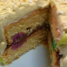 Colored cake shapes inside of cake