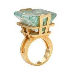Aquamarine Gold Brazilia Tower Ring
