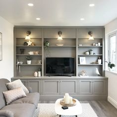 Built In Shelves Living Room, Living Room Wall Units, Living Room Storage, New Living Room, Interior Design Living Room, Tv Wall With Shelves, Wall Cabinets Living Room, Built In Tv Wall Unit, Built In Tv Cabinet