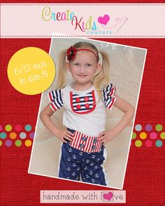 This adorable pattern has so many looks! Make the simple t-shirt design as is or add ruffles to the sleeves! Want tank style short sleeve? Long? all 3 lengths included! Then there is the cute bib design to add some color to your outfit! For use only with knit fabrics.
