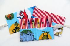 Birthday Party Favor Crayon Roll Set of 6 - Holds 6 Crayons Dr. Suess fabric on Etsy, $27.10 CAD