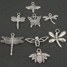 lot 60pcs Tibetan silver Butterfly Dragonfly Bee Charms Beads