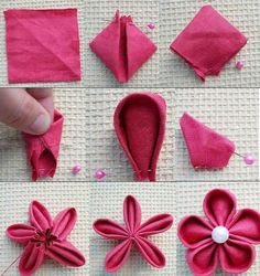 Sewing Fabric Flowers Fabric flower, to be sewed on throw pillow. Diy Ribbon, Ribbon Crafts, Fabric Ribbon, Flower Crafts, Fabric Crafts, Sewing Crafts, Sewing Projects, Kanzashi Tutorial, Fabric Flower Pins