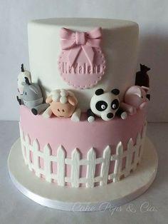 Panda and friends cake 2 Year Old Birthday Cake, Baby Birthday Cakes, Baby Girl Cakes, Bolo Panda, Cake Designs For Kids, Jungle Cake, Friends Cake, Farm Cake, Celebration Cakes