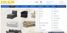 """www.ikea.nl  De blauwe balk bevat een selectie van de categorieën en onder de knop """"alle categorieën"""" een uitklap."""