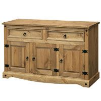 Mexican Sideboard 3 Door (Corona Range)    Pine with a lightly distressed wax finish  Self assembly  132 (w) x 43 (d) x 81 (h)cm  This Corona Mexican style sideboard has a lovely wax pine finish, ideal for giving your home a country style finish.