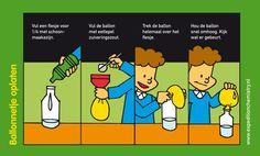 Blaas een ballon op met azijn en zuiveringszout.