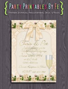 Printable Wedding Invitation ~ Champagne Wedding Invitation ~ I109