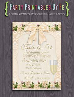 Printable Wedding Invitation ~ Champagne Wedding Invitation ~ I109
