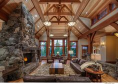 Luxurious Rustic Home that Embraces the Warmth and Nature : Fabulous Living Room Brown Leather Sofa Vintage Tahoe Cabin Homes, Log Homes, Timber Homes, Home Improvement Companies, Vintage Sofa, Stone Houses, Great Rooms, Custom Homes, Luxury Homes