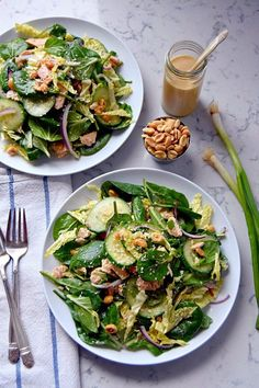 This tuna salad uses a nutty, sweet sesame-peanut dressing. Add this healthy green meal to your lunchtime rotation by packing the salad and dressing...