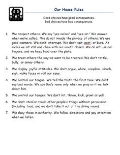 House Rules for families with children from Mom's Best Nest