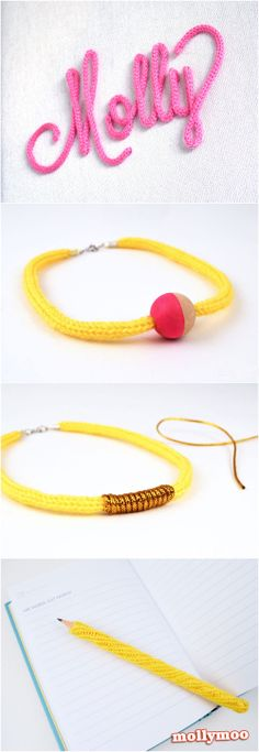 4 French Knitting / iCord craft ideas | MollyMooCrafts.com
