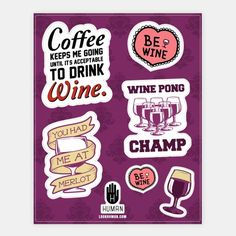 Wine Lover's Stickers #art #decor #design #stickers #fun #trendy #wine #drunk #love #girly #party #classy