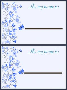 Give a like for free Butterfly name tags from freeprintableonline.com