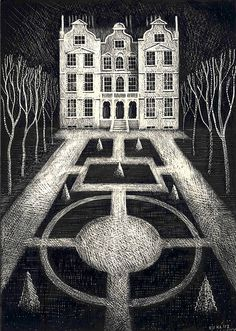 'Kew Palace' by English artist and printmaker Ed Kluz Scraperboard (scratchboard). via all things considered Collage Techniques, Principles Of Design, Scratchboard, English Artists, Kew Gardens, Historical Architecture, Illustration Art, Illustrations, Dark Art