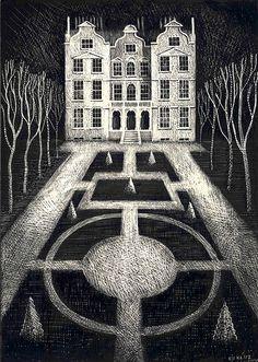 'Kew Palace' by Ed Kluz (scraperboard)