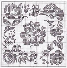 Одноклассники Filet Crochet Charts, Crochet Diagram, Crochet Motif, Crochet Doilies, Crochet Stitches, Crochet Patterns, Cross Stitch Cushion, Cross Stitch Rose, Cross Stitch Flowers